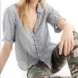 J. Crew Striped Short Sleeve Button Up Blouse
